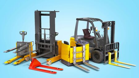 Different Forklift loaders 3D render on blue gradient Reklamní fotografie