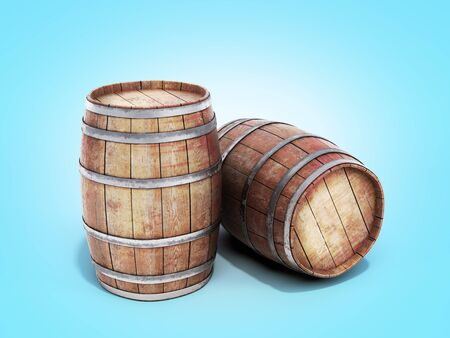 Wooden barrels isolated on blue gradient