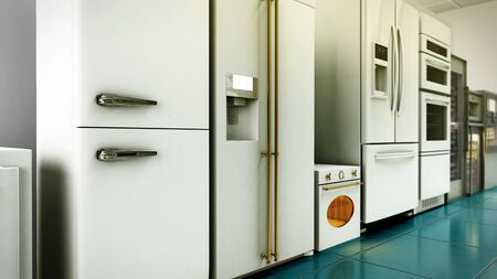 kitchen appliances in supermarcket 3d render image Reklamní fotografie