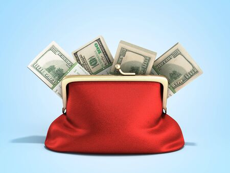 Red wallet with dollar money stacks 3d render on blue gradient