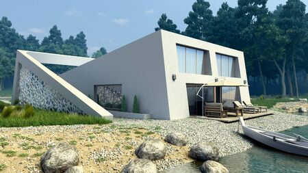 nature housing concept modern style lake house 3d render exterior