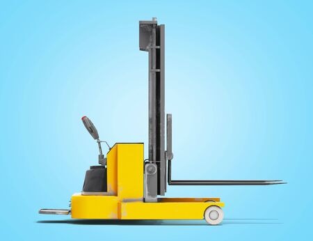 Forklift loader isolated 3D render on blue gradient