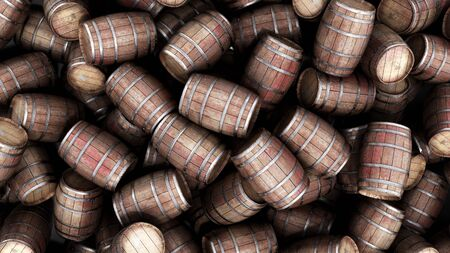 Wooden barrels pile background 3d illustration image Reklamní fotografie