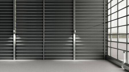 Empty Hangar delivery warehouse 3d render Banque d'images