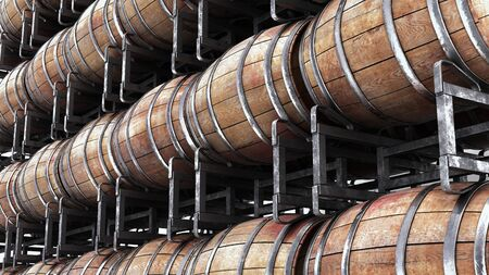 Wooden barrels on stacks Stock Photo