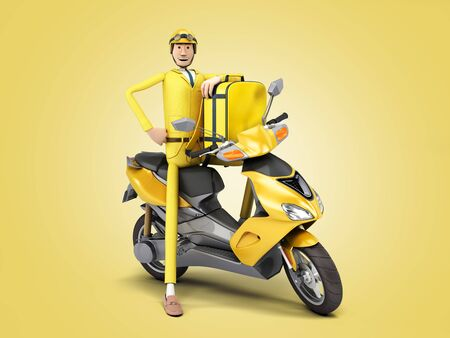 fast delivery concept the courier on a motorcycle holds a thermal backpack 3d render on color gradient