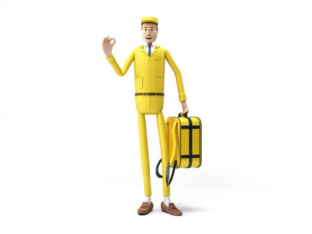 Courier holds a thermal backpack 3d render on white
