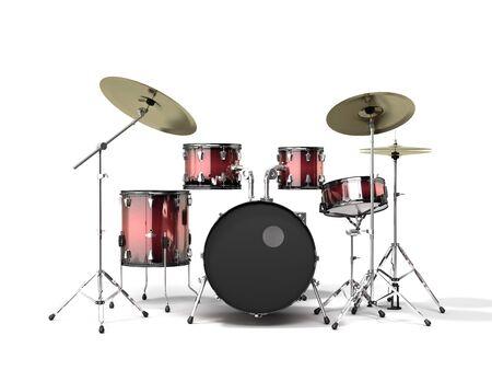 musical instrument drum set 3d render on a white background Imagens