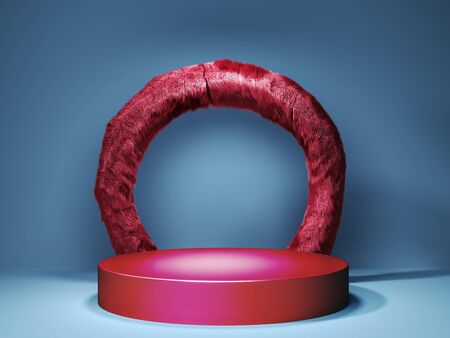Red pedestal for product presentation with red wool arch in a blue room