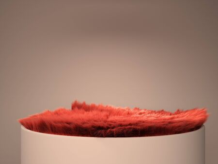 Red wool pedestal simple podium for product presentation 3d render on color gradient