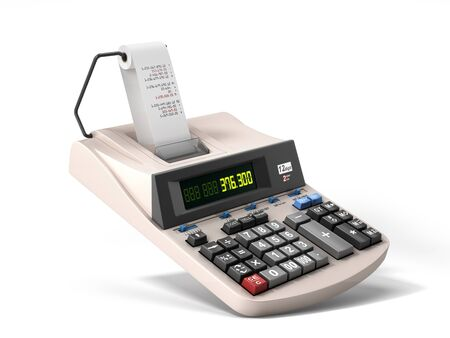old electronic calculator front view 3d render on white Zdjęcie Seryjne