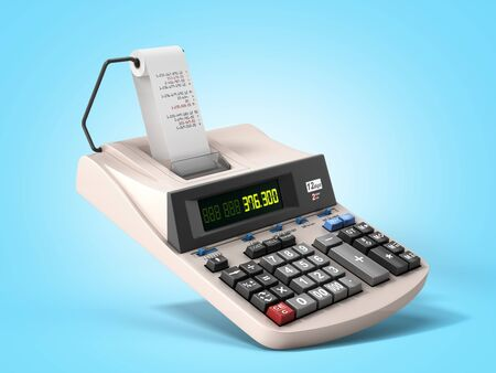 old electronic calculator front view 3d render on blue gradient