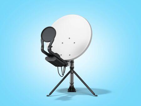 satellite tv or internet concept satellite dish 3d render on blue gradient