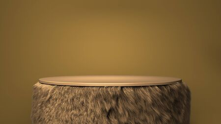 pedestal for product presentation with color wool walls 3d render on white