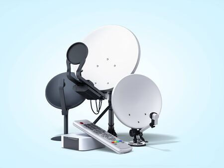 satellite tv or internet concept different size satellite dishes 3d render on blue gradient