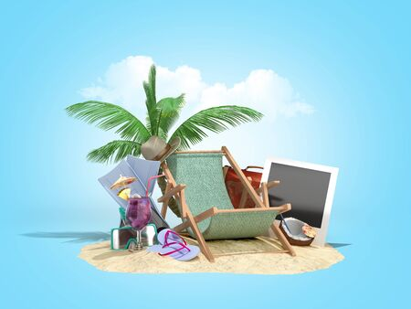 Concept of travel and tourism lounger in the sand with attributes for tourism on the sand 3D illustration on blue gradient 免版税图像