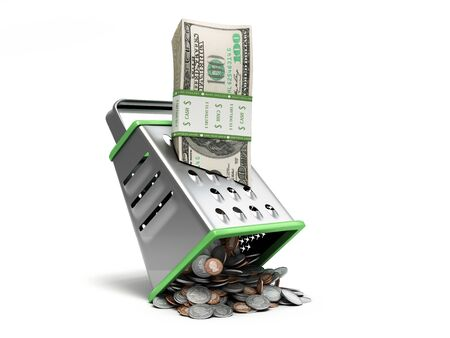 Profit distribution concept a pack of dollar bills is rubbed into coins 3d render on white