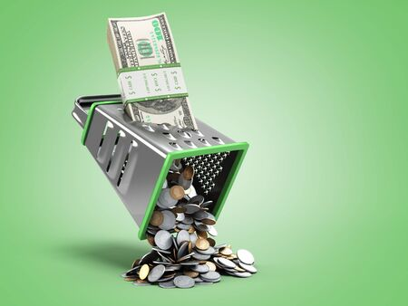 profit distribution concept a pack of dollar bills is rubbed into coins 3d render on green gradient