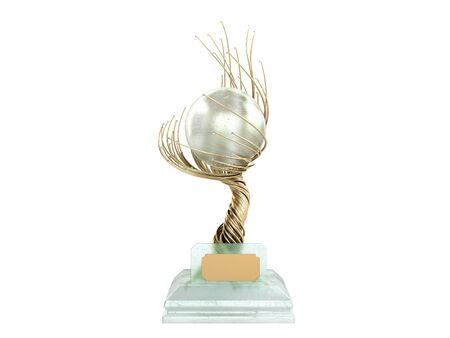 modern concept award gold braided tree goblet with a large pearl 3d render on white no shadow 写真素材