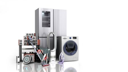 Home appliances  E commerce or online shopping concept 3d render on white