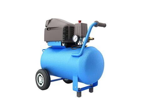 modern Blue Air Compressor 3d render on white background no shadow Reklamní fotografie