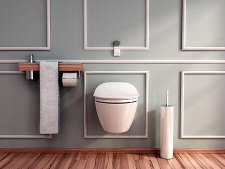 modern grey tones empty restroom 3d render image