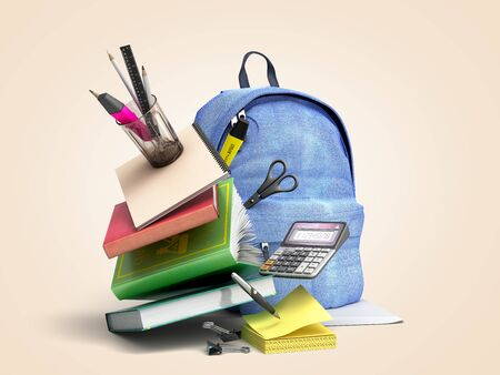 Blue backpack with school supplies 3d render on color gradient
