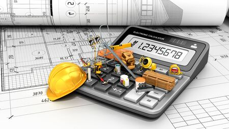 modern construction costing concept hard hat bricks and tape measure in the drawings next to the calculator 3d render on white paper drawings