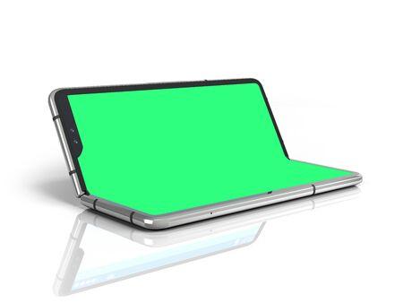 Serial flexible phone with empty green screen 3d render on white Foto de archivo