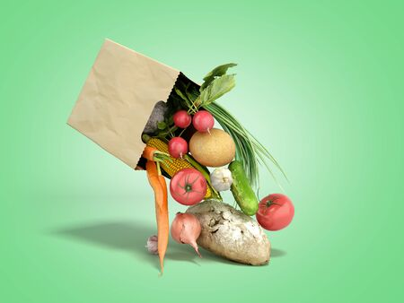 fresh food falls out of a paper bag for products 3d render on green gradient Archivio Fotografico