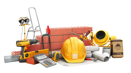 modern construction costing concept hard hat bricks wall and tape measure in the drawings next to the calculator 3d render on white no shadow