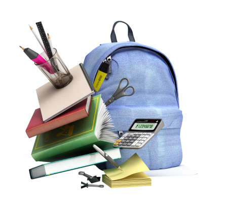 online learning concept Blue backpack with school supplies 3d render on white no shadow