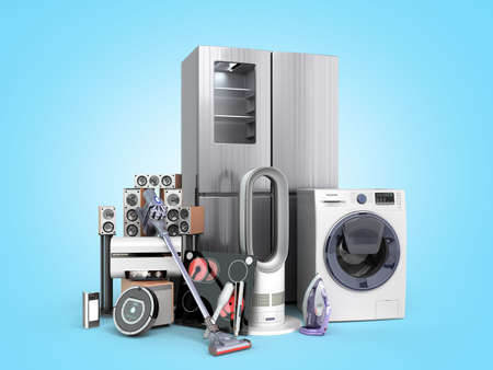 Modern home appliances E commerce or online shopping concept for marketing literature 3d render on blue gradient