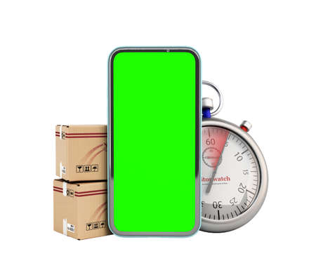 concept of fast delivery and parcel tracking boxes are at the phone screen next to them is a stopwatch 3d render on white no shadow
