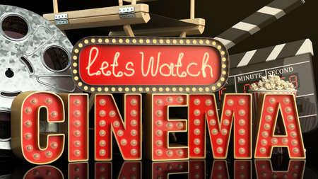 cinema had light concept nave lets watch cinema 3d render on darck background