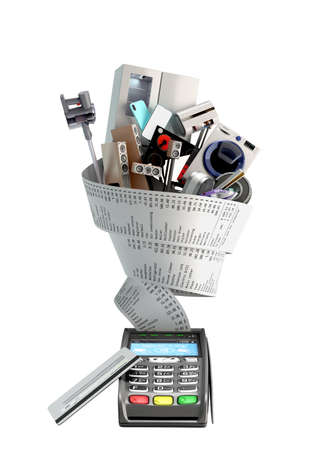 concept of online ordering of home appliances the technique is wrapped in a check coming from the card terminal 3d render on white no shadow