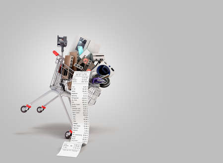 Home appliances in the shopping cart internet commerce or online shopping concept 3d render on gray gradient