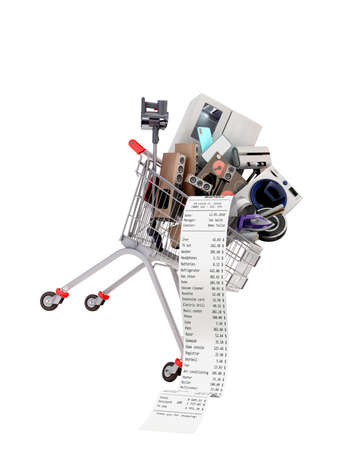 Home appliances in the shopping cart internet commerce or online shopping concept 3d render on white no shadow