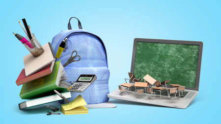 online learning concept Blue backpack with school supplies and laptop 3d render on blue gradient