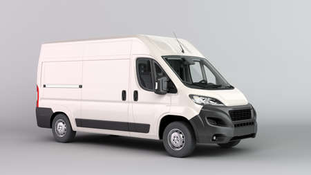 White Delivery Van Icon 3d render on gray gradient Imagens