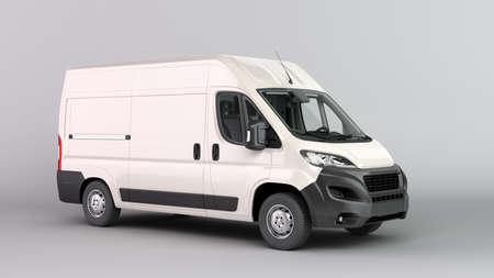 White Delivery Van Icon 3d render on gray gradient Stock fotó