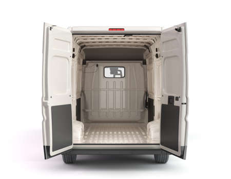 Open back of White Delivery Van Icon 3d render on white