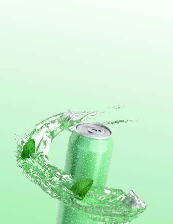 Mojito soda in an iron can splash of water with ice cubes and mint around the bottle 3dender on green