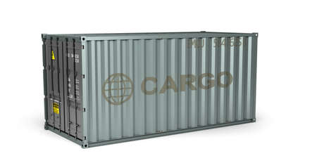gray metal shipping container 3d render on white Foto de archivo