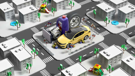 product category concept automotive goods in the form of a quarter of the color city 3d render image