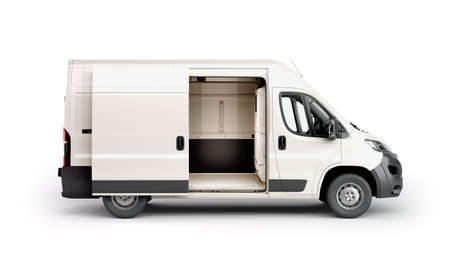 open White Delivery Van 3d render on white