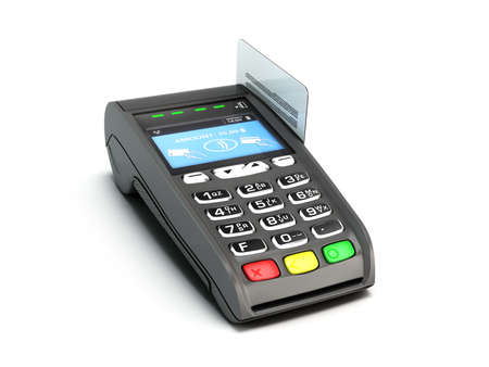 contactless payment by credit card through the terminal 3d render on white