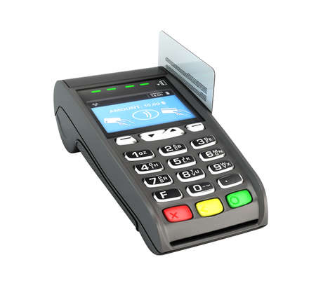 contactless payment by credit card through the terminal 3d render on white no shadow Reklamní fotografie
