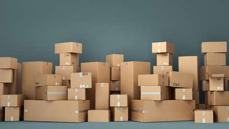 Cardboard boxes on pallet delivery and transportation logistics storage 3d render image Standard-Bild