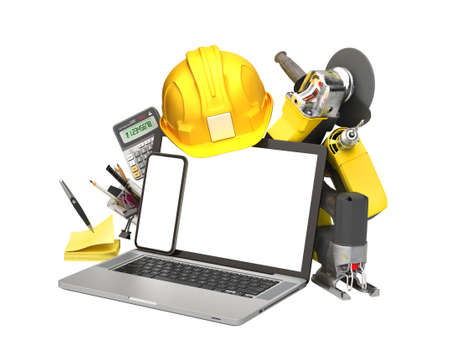 online calculation of construction costs building supplies fly out from laptop with a blank screen 3d render on white no shadow